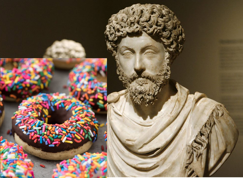 Marcus Aurelius being tempted by Donuts
